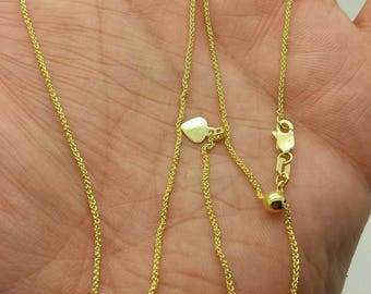 "10k Solid Yellow Gold Adjustable Wheat Necklace Pendant Chain Up to 22"" 1.0mm"