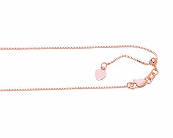"14k Rose Gold Adjustable Box Chain up to 22"" Necklace .7mm"