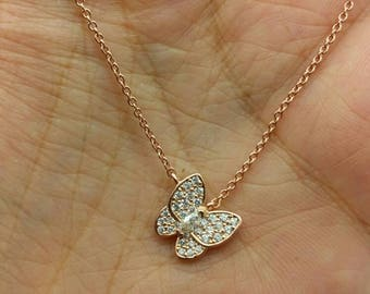 Best Selling 925 Sterling Silver 14k Rose Gold Butterfly with CZ Pendant Necklace Chain/birthday/layering /Birthday gift/bridesmaid gift
