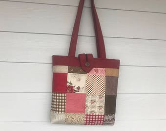 Large Patchwork Quilted Tote Bag