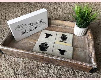 Custom Dog / Cat Paw Print and Silhouette Coasters
