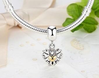 925 sterling silver charm heart beads European charm bracelets