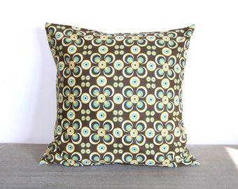 Housse de coussin 40 x 40 cm, taie d'oreiller, tissu africain wax aux motifs géométriques ronds, marron, jaune, vert
