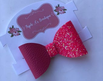 Hot pink bow/ glitter bow