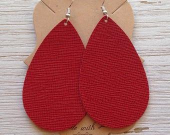 Red Saffiano Leather Teardrops, Leather Earrings, Teardrop Earrings, Statement Earrings, Boho