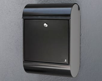 POSTA 'Monza' - Modern/Contemporary Wall Mounted Mailbox - Black w/ Gray Acrylic