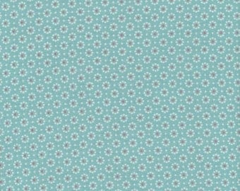 Turquoise waxed canvas sold white printed flowers liberty pattern was cut for making tablecloth