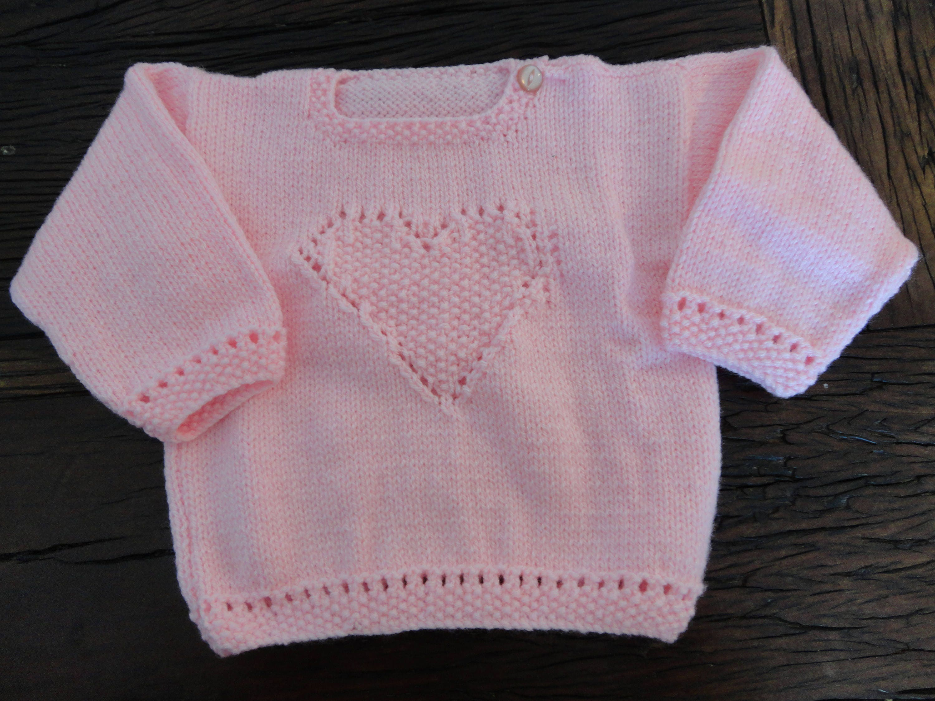 Pink baby round neck jumper heart pattern on front, hand knitted ...