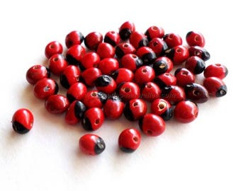 Huayruro Seeds (5mm) - 10/100/1000 Beads