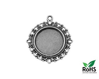 20mm - Antique Silver - 10 or 100 Pendant for Cabochon 20mm