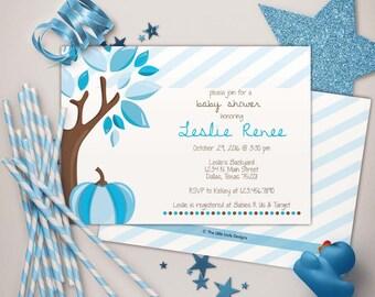 Fall Stripes Pumpkin Tree Baby Shower Blues Invitation