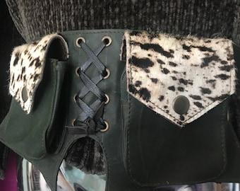 Animal print leather waist pocket belt