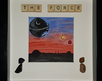 The Force watercolour pebble art picture