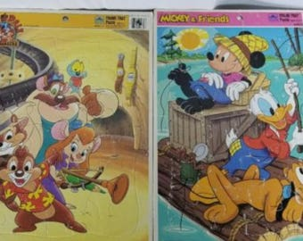 Walt Disney Authentic Board Tray Puzzles 1980s Mickey Donald Duck Pluto Chip Dale Rescue Rangers