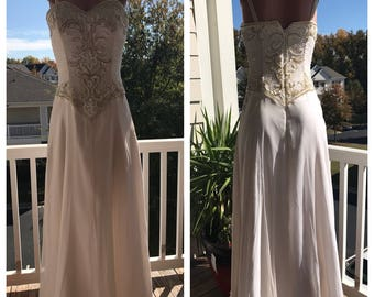 Vintage Alyce Silk and Beaded Gown Size 8