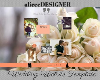 WEDDING WEBSITE TEMPLATE Wix - Website and Logo - Website Design - Website Branding Kit - Web Design - Marriage - Wedding Invitation