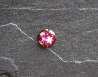 Pink glass cabochon 18 mm psychedelic