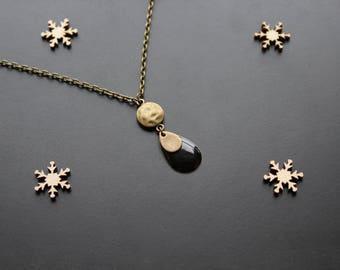 Bronze necklace in black sequin ethnic