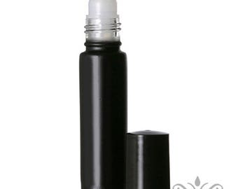 48 Black Glass Roll On Bottles - 10 ML
