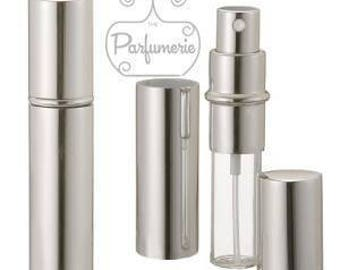 Set of 25: 12 ml. Silver SHINY METALLIC Sleek Spray Atomizer Perfume Cologne Refillable Travel Size Wholesale Bottle Empty