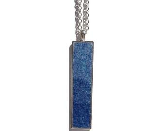 Drop pendant, drop necklace, bar pendant, pendant necklace, boho, under 20 dollars, geode pendant, druzy, rectangle pendant, dark blue druzy