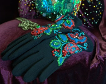 "Gloves with an exclusive  embroidery in Russian folk style ""Forest flowers"""