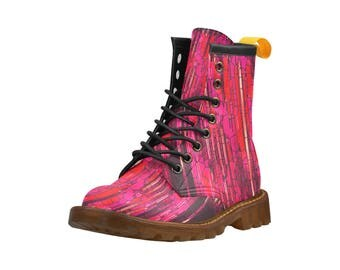 Pink Textured Boots