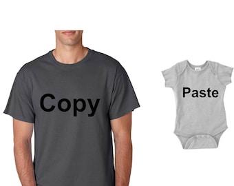 Copy and Paste, dad and baby matching shirts, Dad and kid shirt set,family shirt set