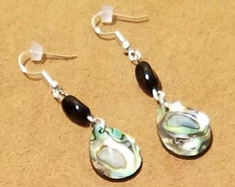 Handmade Natural Iridescent Teardrop Earrings