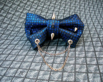 Leather Bow Tie Blue