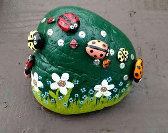 Ladybug Life - hand painted rock