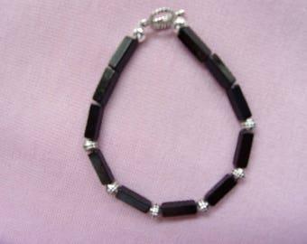 Blackstone and pewter bracelet
