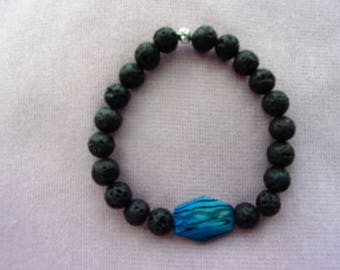 Men's Volcanic Stone and Shell bracelet