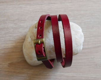 Red leather band bracelet, wrap watch band  red leather strap