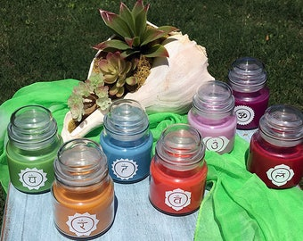 Chakra Candles with Sanskrit Symbols (Small 3 oz.) {Set of 7} -- Your Choice of 3 Different Sanskrit Designs