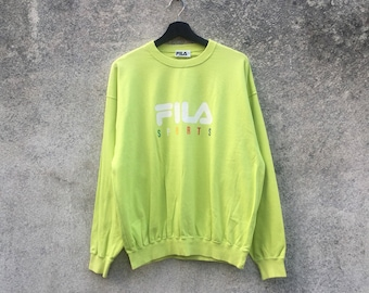 FILA vintage 90s Fila Sports colourful spellout soft green colour sweatshirt