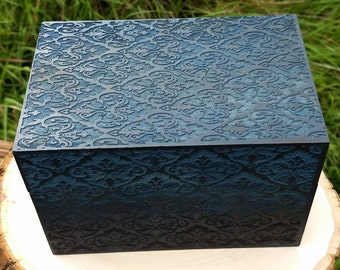 Blue Laser Engraved Jewelry box