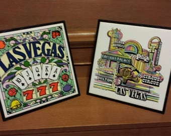 Las Vegas  vintage souvenir  tiles set of two ceramic 1988 by Western Supply collectibles wall decor or furniture protection attractive disp