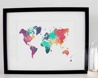 Worldmap world map, Poster, Digital watercolor watercolor. For decoration, gift for travelers