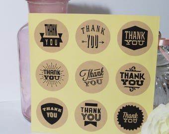 5 sheets of 9 kraft Thank You stickers