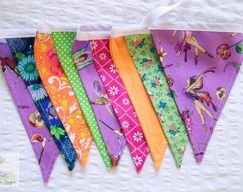 Colourful bright girls fairy and floral fabric bunting / wall decor / pennant flags