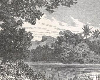 Jordan 1885, Shore of the Jordan, Old Antique Vintage Engraving Art Print, Trees, Water, Grass, Shrubs, River, Hills, Mountains, Coast