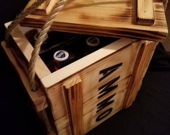 "6 pack ""ammo box"" handcrafted beer crate"