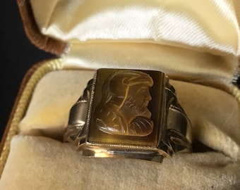 Antique 10k Tigers Eye Intaglio Ring Size 10
