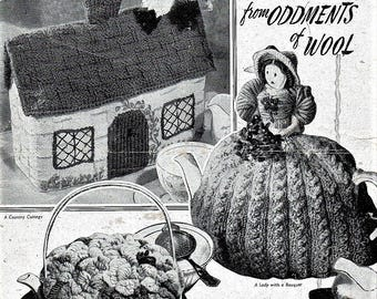 Bestway PDF Knitting Pattern To Make 3 Tea Cosys, Lady with a Bouquet, Country Cottage ,Basket of Flowers, From Oddments of Wool