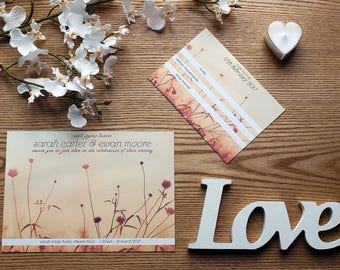 Fields and Nature Personalised Wedding Invite & RSVP Card Set with Envelopes