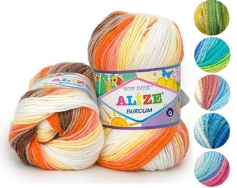 Yarn Alize Burcum bebe batik yarn baby yarn children's yarn colorful yarn multicolor yarn 100% acrylic melange yarn rainbow yarn acrylic