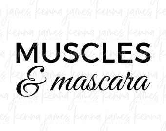Muscles & Mascara svg | Muscles svg | Muscle svg | Mascara svg | Lashes svg | Exercise svg | Workout svg | SVG | DXF | JPG | cut file