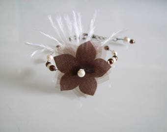 Bracelet Original chocolate/brown/ivory/white off-white/Beige clear Fleur/feathers pr dress bridal/wedding/party/Christmas/holiday (cheap)