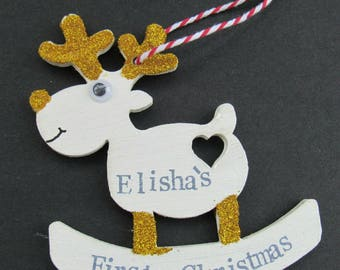 Baby's First Christmas Tree Decoration Reindeer GOLD